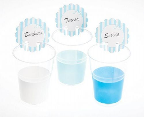 Stripe Birthday Party BBQ Disposable Cups or Glass Markers 12's Blue